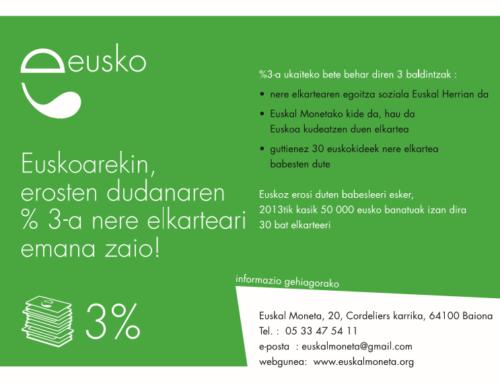 13 000 eusko baino gehiago banatuak izan zaizkie 43 elkartei   « %3 Eusko »-ari esker