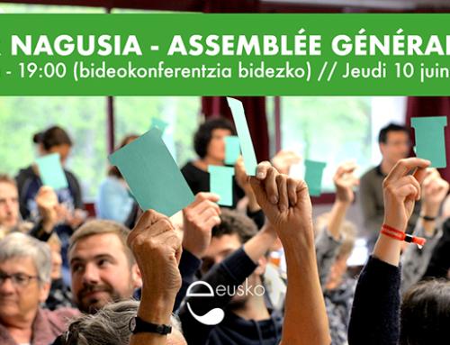 AG extraordinaire de l'Eusko jeudi 10 juin